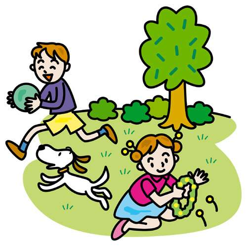 ở sân có con chó và em bé