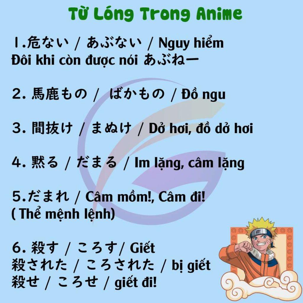 Học tiếng Nhật qua Anime và Những từ Lóng Anime