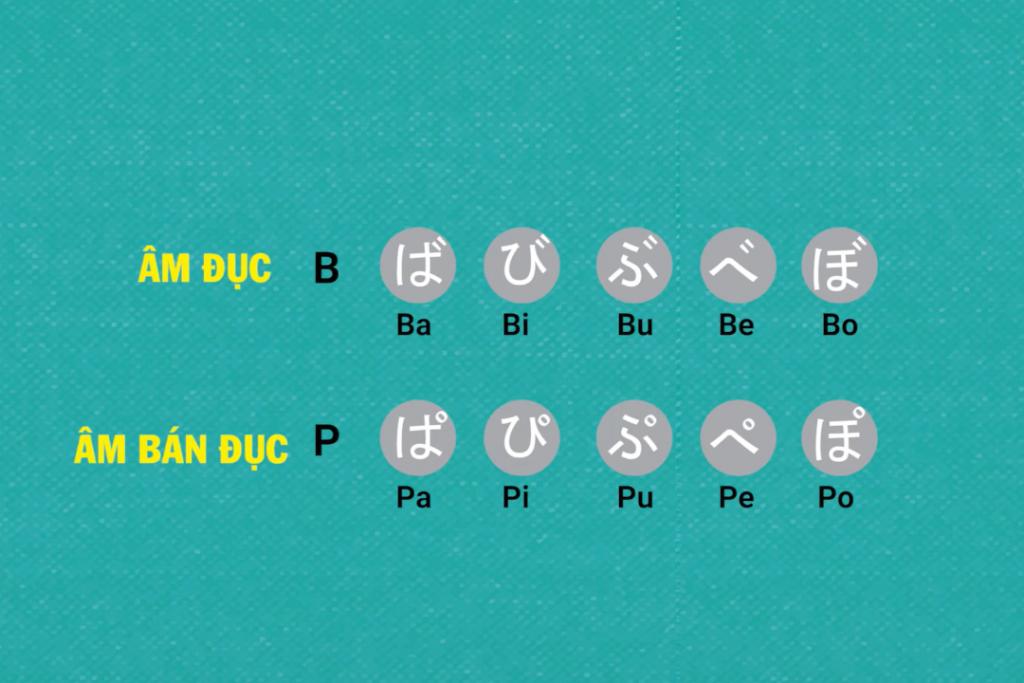 Biến âm trong tiếng Nhật - Âm bán đục