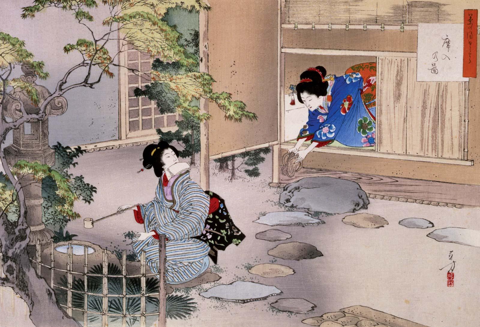 Tranh vẽ văn hoá trà đạo Nhật Bản