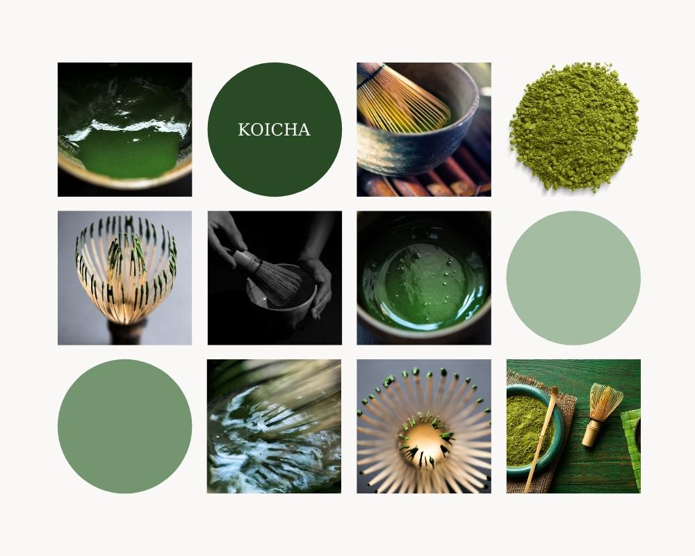 Theo Văn Hoá Trà Đạo Nhật Bản, Koicha – là loại trà đặc, độ đặc thích hợp là ở giữa dạng lỏng và dạng sệt, 4 gram trà thì chỉ cho khoảng 30-40 ml nước.