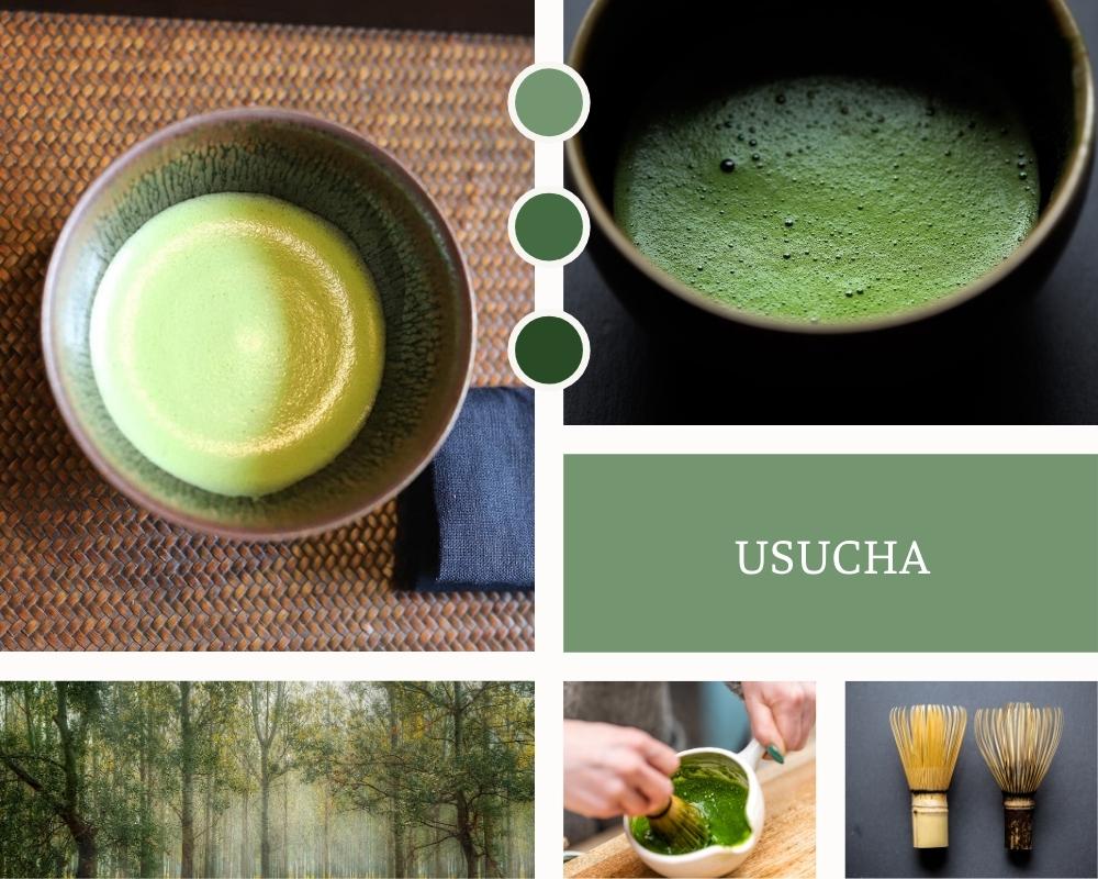 Ngoài koicha thì văn hoá trà đạo còn một loại trà pha bằng bột matcha khác là usucha. Usucha là trà pha loãng, được tạo ra bằng cách cho một lượng nhỏ bột trà vào cùng với nước nóng có nhiệt độ phù hợp nhiều hơn so với koicha.