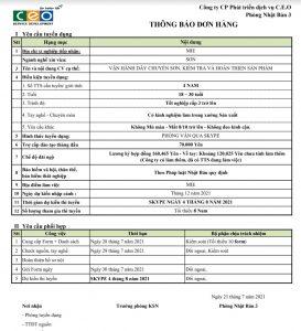 Chúc mừng các ứng viên nam trúng tuyển đơn hàng sản xuất phụ tùng ô tô 4/8/2021