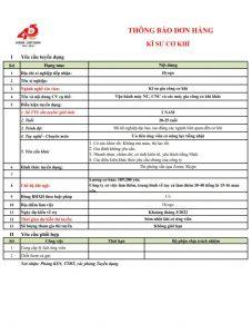 Đơn Hàng Kỹ Sư Cơ Khí Đi Tỉnh HYOGO Tháng 9.2021